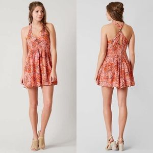 Free People / Washed Ashore Pink Floral Mini Dress